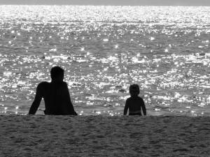 vader en zoon zee